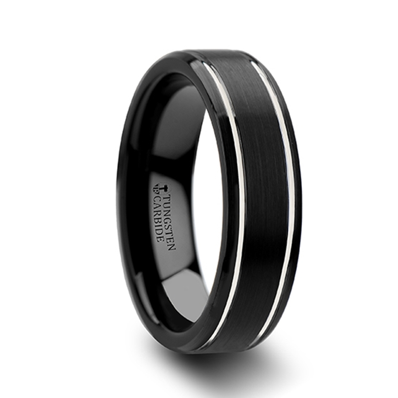 NOCTURNE Beveled Black Tungsten Carbide Band with Brushed Finish and ...