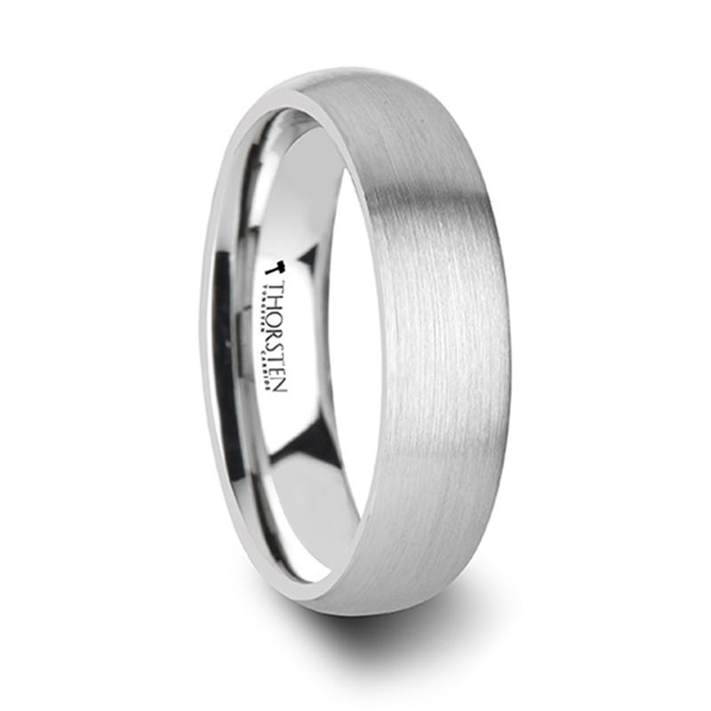 Pythius Round Brushed White Tungsten Ring