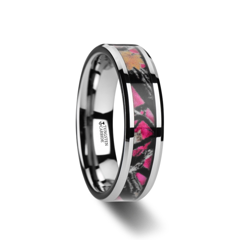 Juliet Realistic Tree Camo Tungsten Carbide Wedding Band With Real