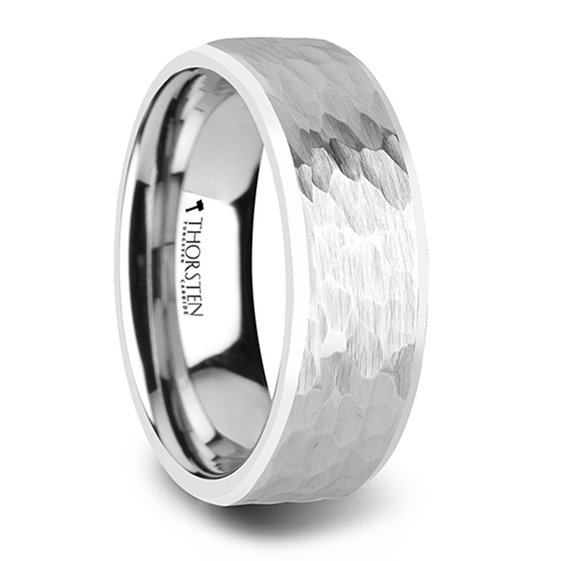 Martel White Tungsten Ring With Hammered
